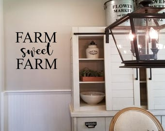 Farm Sweet Farm Wall Decal/Farmhouse Kitchen Sign Wall Decal, Dining Room Wall Tattoo, Personalized Kitchen Vinyl Wall Words, Wall Word