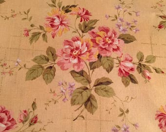 Vintage Beige (similar to color of vintage newspaper) Shabby Chic Floral  New Cotton Window Curtain Valance Topper