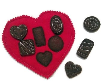 SALE Candy heart shapes matching felt game great for quiet books or busy bags #3868