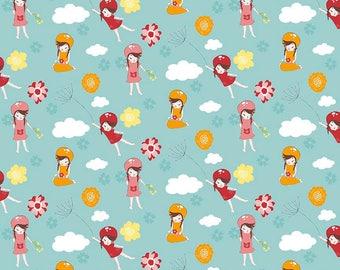 Wistful Winds ~ Little Girls on Blue ~ Premium Woven Cotton ~ Doohikey Designs for Riley Blake Fabrics
