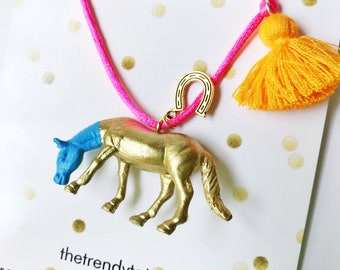 Horse Necklace. Girl Necklace. Kids Necklace. Girls Horse Necklace. Kids Jewelry. Horse Lover Gift. Horse Jewelry. Kids Tassel. Girl Jewelry