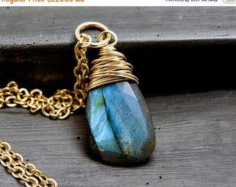 Labradorite Necklace, Gold Necklace, Wire Wrapped, Labradorite Jewelry, Gold Jewelry, Gemstone Jewelry, PoleStar, Midnight Blue
