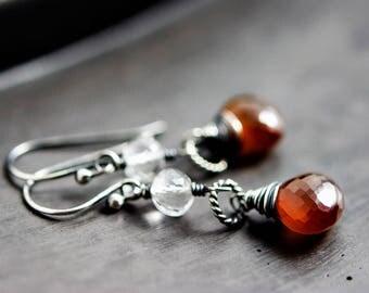 Spessartite Garnet Earrings, Garnet Jewelry, January Birthstone, Gold Earrings, Drop Earrings, Birthstone Earrings