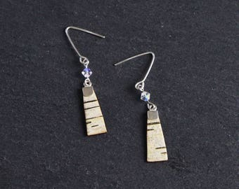 Small birch bark earrings, Crystal Clear