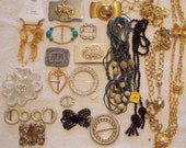 Lot vintage belt buckles and belts, 2 piece buckles/one piece w/cowboy & horse, slide buckles, belts gold tone and beaded