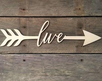 Live Arrow Word, Wall Decor, Wall Hanging, Inspirational, Teens Room, Childs Room, Classroom