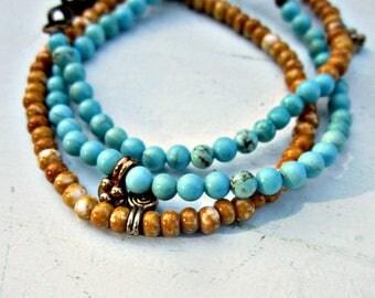 Bracelets Set of Three Blue and Tan Beaded Clasp Bracelets: Algiers