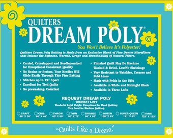 Batting Quilters Dream Poly Request Low Loft Sampler Pack  Quilt Stuffing Machine Quilting