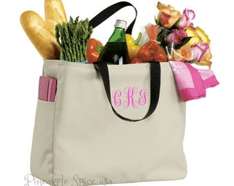 7 Monogram Bridesmaid Tote Bags, Personalized Custom Embroidery Wedding Party Gift