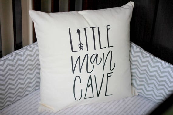 Little Man Cave Nursery Pillow Mountain Arrow Adventure Explore Forest Theme Hand drawn 16 x16 Trees Handwritten
