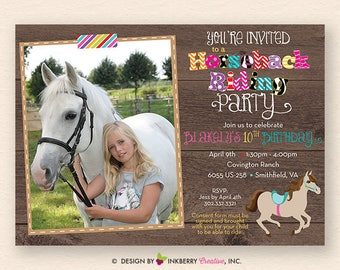 Horseback Riding Birthday Party Photo Invitation - (Digital File - Printed Cards Also Available)