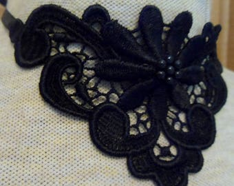 Black applique necklace, center flower with black beads - trach stoma necklace