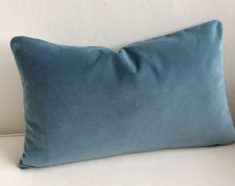 VELVET decorative Pillow 12x20 includes insert wedgewood blue