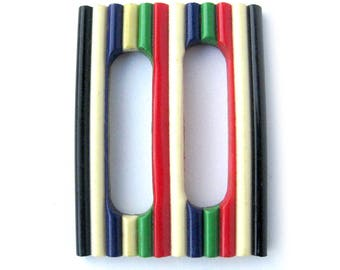 1940s Vintage Belt Buckle Slide / Colorful Striped Slide / Vintage Sewing Notions / Forties Novelty Buckle / Dressmaking / Belt Slide