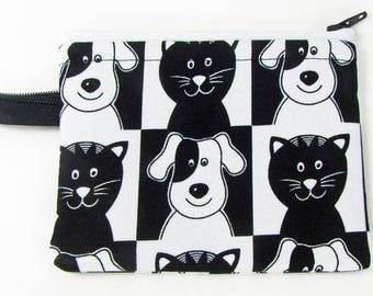 Cats and dogs, credit card case, change purse, business card holder, coin wallet, womens change purse, credit card wallet, minimalist wallet