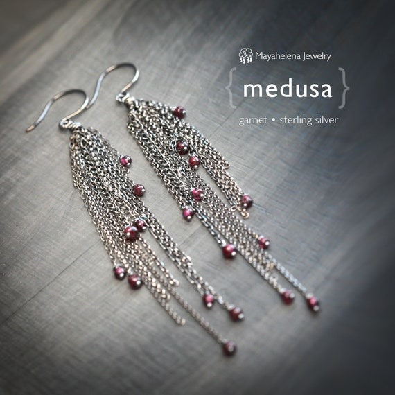 Medusa - Garnet Wire Wrapped Long Tassel Dangle Sterling Silver Earrings