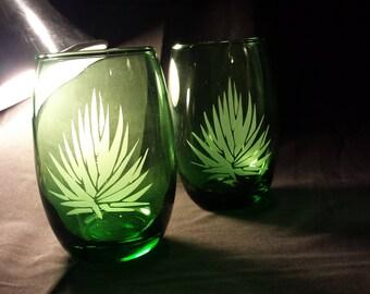 Green Agave Wine Glasses -Set of 4