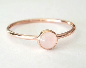 Rose Quartz Ring in 14k Rose Gold Filled