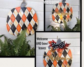 Fall Door Hanger//harlequin Pumpkin Sign// Autumn door hanger// fall pumpkin door decor //Pumpkin wood door hanger// pumpkin sign