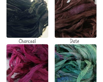 Sari Ribbon - Pick Your Color! - Recycled Silk and Fabric Remnant Yarn -  Knit, Scrap, Weave, Hook!