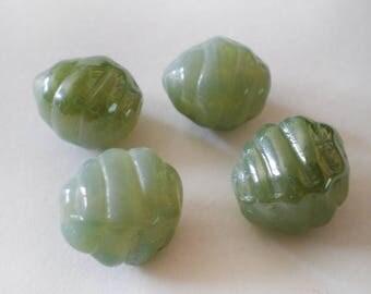12x10mm Cactus Green Luster Beehive shape Spriral Czech glass beads 10pcs