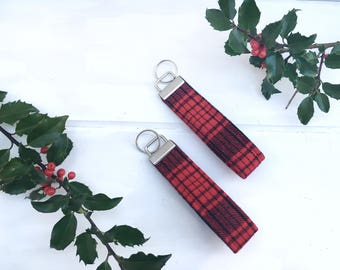 Red buffalo plaid key fob, key chain, purse charm, bag charm, key ring, accessory, gift, maineteam