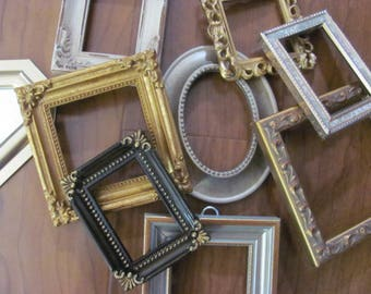 Lot 9 Miniature Small Gold +  Picture Frames, Hollywood Regency , Paris Apt, Wall Gallery, Repurpose