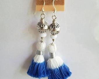 50%OFF Blue & White Tassel Earrings, Summer Earrings, Under 10