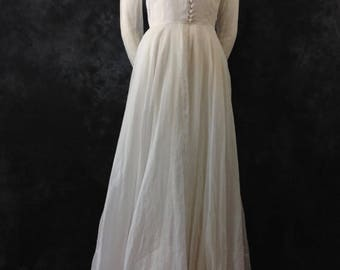 ON SALE Vintage 1930's 1940's organdy white wedding dress gown