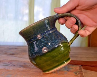 Made to Order Coffee mug ceramic, tea cup stoneware, glazed in green and blue, artisan table, handmade by hughes pottery