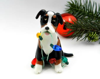 Greater Swiss Mountain Dog Christmas Ornament Figurine Porcelain Clay Lights