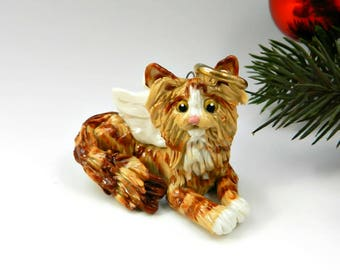 Angel Maine Coon Cat Orange Red Tabby Christmas Ornament Porcelain