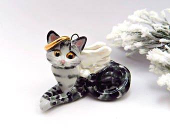 Angel Cat Silver Gray Tabby Christmas Ornament Figurine Porcelain