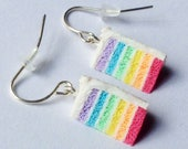 Handmade Rainbow Cake Slice Earrings. Fimo Jewellery. Miniature Food. Birthday Gift. Rainbow Cake Dangle Earrings.