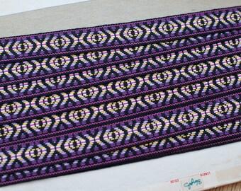 3 yards Embroidered Geometric  - Vintage Fabric Trim New Old Stock Mod BOHO Bohemian Black Purple Hippie