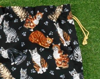 Cats drawstring gift bag, shoe bag, toy bag or storage bag, medium drawstring bag