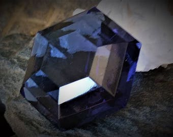 1pc Rare Vintage Dark Midnight Smokey Blue Montana Sapphire Art Glass Transparent Jewel Faux Gemstone Faceted Loose Unfoiled Rhinestone