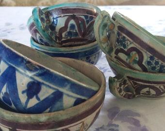 6- Antique Mexican Tlaquepaque Cups