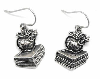 Bookworm Book Lovers Charm Dangle Earrings