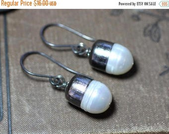 SALE White Pearl Earrings Bullet Capped Silver Earrings Rustic Jewelry