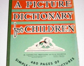 Vintage (1939) Picture Dictionary for Children for Collecting or Crafting