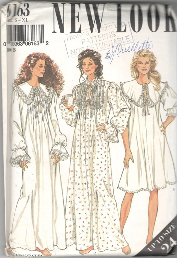 new look 6163 misses victorian style nightgown pattern tucked cape collar womens vintage sewing
