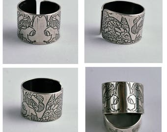 Adjustable Etched Sterling Silver Owl Ring, silver ring, silver bird, silver feather, oxidised ring, wedding ring, promise ring, friendship