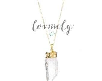 SUMMER SALE Crystal Quartz necklace- gold filled