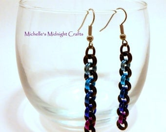 Chainmail Earrings 2 in 2 Color Fade, Lightweight, Dangle, Gift for Her, BI, Gift Idea Christmas, Statement Earrings, Jewelry, Maille, Chain