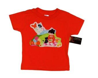 Kokeshi Doll -  Japanese Clothing - Baby Top - Tshirt - Girls Shirt - Orange - Kawaii - Kitty - Conscious Childrens Clothes - 24 months