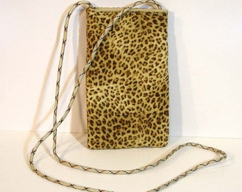 Cell phone purse - Wallet on a string - Travel bag - Mini purse - Phone purse - Animal print - Cheetah print - Neck pouch - Phone pouch