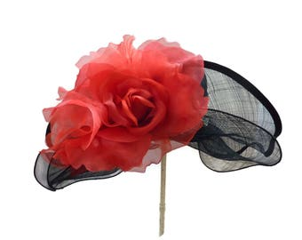 "Kentucky Derby Hat, Spring Fashion Easter Hat, Wedding Guest Hat, Garden and Tea Party Hat in Black, Red and Rhinestones is - ""Just Grand!"""