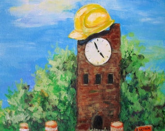 Supervising The Construction, Original Painting Of The Hudson Ohio Clocktower, 6x6 inches on wood panel, Road Construction Art