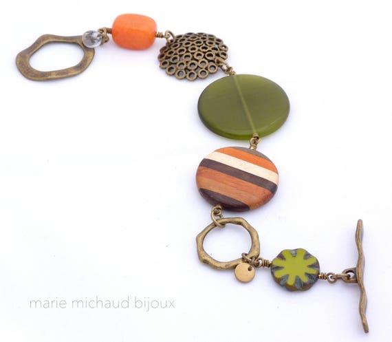 Big boho bracelet, Boho bracelet, Green bracelet, Original bracelet, Boho jewelry, Winter trends, Original bracelet, Gift idea for women